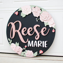 Load image into Gallery viewer, Hand Drawn Floral Name Round*