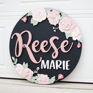 Hand Drawn Floral Name Round*