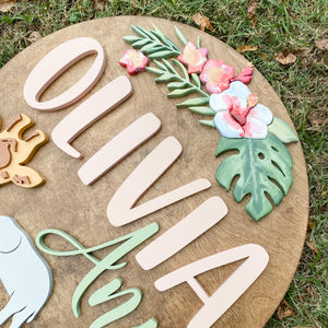 Floral Safari Name Sign*