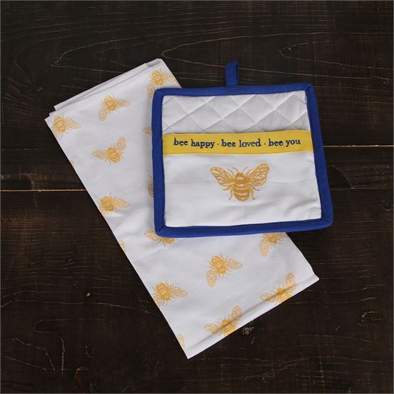 Bee Dish Towel & Pot Holder Set