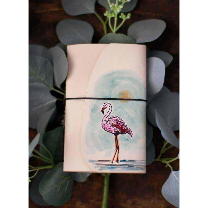 Handmade Flamingo Travel Journal