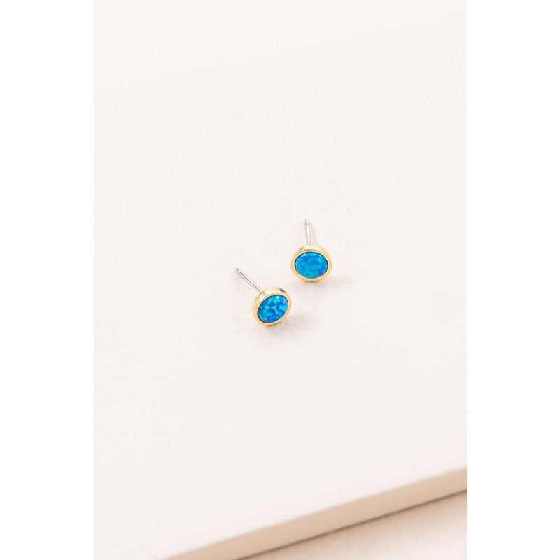 Pixum Round Stone Earrings