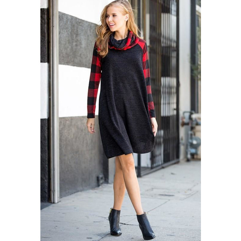 Plaid turtleneck sweater dress