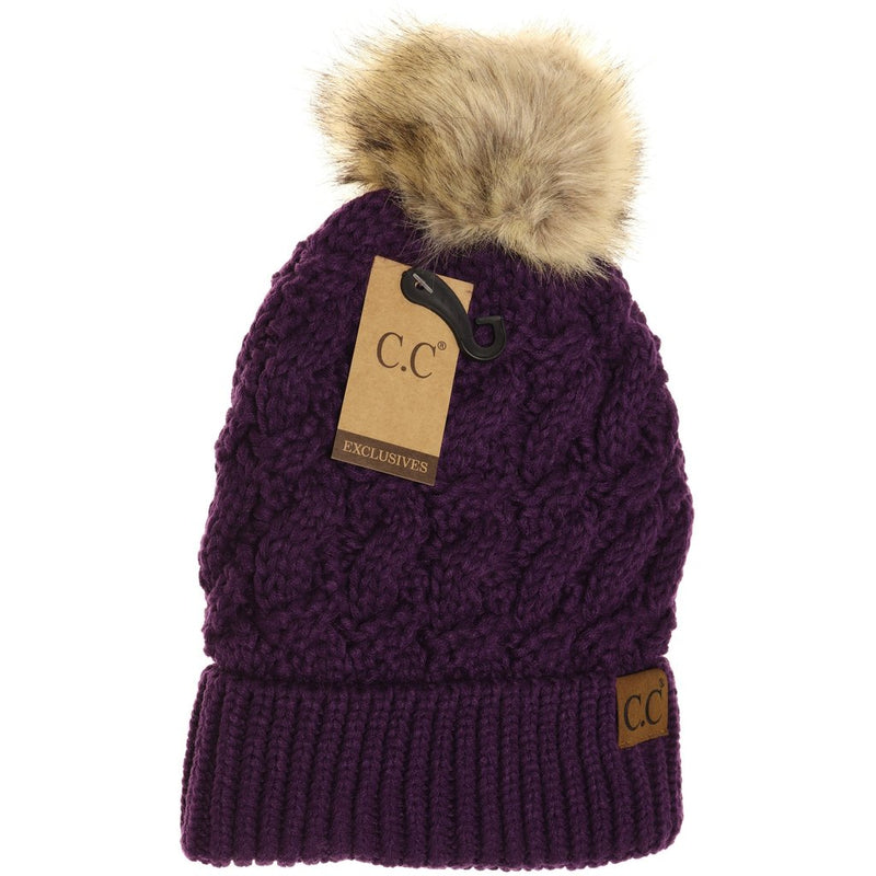 Ribbed Cable Knit Fur Pom Beanie