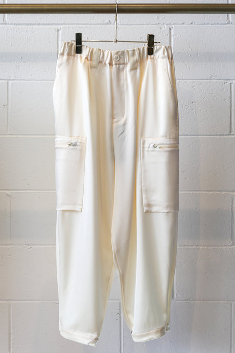 Y-3 W CH3 Tech Silk Cargo Pants - White