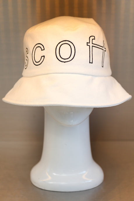 XXXSCOFF Big logo scoff outline bucket hat-White