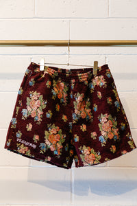 Pleasures Dejavu Woven Floral Shorts-Maroon