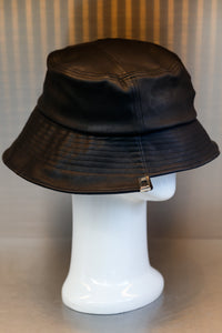 XXXSCOFF Leather unbalance xx Scoff Bucket hat-Black