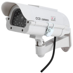Solar Energy Realistic Dummy Surveillance Security CCTV Sticker Camera Blinking Red LED Light with Fake Video Cable