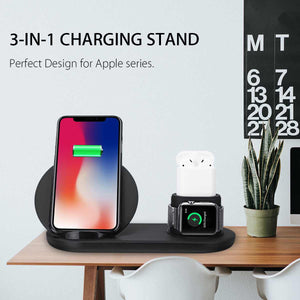 3 in1 10W Qi Wireless Charger Dock Station Fast Charging for Apple Watch 1 2 3 4 For iPhone XR XS Max For Samsung S9 For AirPods