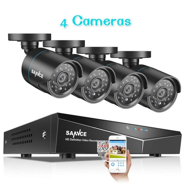 SANNCE 4CH 720P CCTV System 1080N 5IN1 HDMI DVR 2PCS/4PCS AHD 1200TVL Outdoor Weatherproof Camera Home Security Surveillance Kit