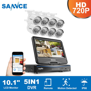 SANNCE HD 5in1 10.1inch Displayer CCTV System 1080N 8CH DVR 8PCS 720P IR CCTV Cameras Home Surveillance Security System DT