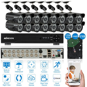 KKmoon 16CH 1080P DVR CCTV System 16PCS 3.6mm IR Waterproof Outdoor CCTV Camera 960H Home Security System Surveillance Kits 2TB
