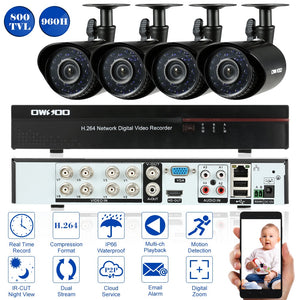 OWSOO 8CH CCTV System Full 960H/D1 Video Surveillance DVR with 4PCS 800TVL Outdoor Camera Night Vision Home CCTV Security System