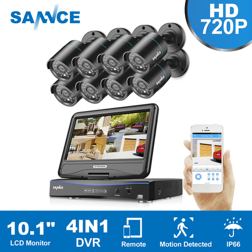 SANNCE HD 5in1 10.1inch Displayer CCTV System 1080N 8CH DVR 8PCS 720P IR CCTV Cameras Home Surveillance Security System