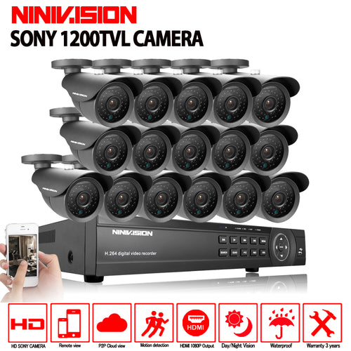 NINIVISION 16 channel security 1200TVL video surveillance outdoor camera kit 16ch AHD CCTV DVR recording HDMI 1080P CCTV system