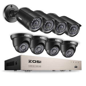 ZOSI 8CH CCTV System 1080N/720P HDMI TVI CCTV DVR 8PCS 1.0MP IR Outdoor Security Camera 1280TVL Home Surveillance System