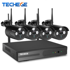 Techege Wireless CCTV System 4CH 1080P Wireless NVR 2.0MP WiFi IP Camera Audio Record CCTV Home Security System Surveillance Kit