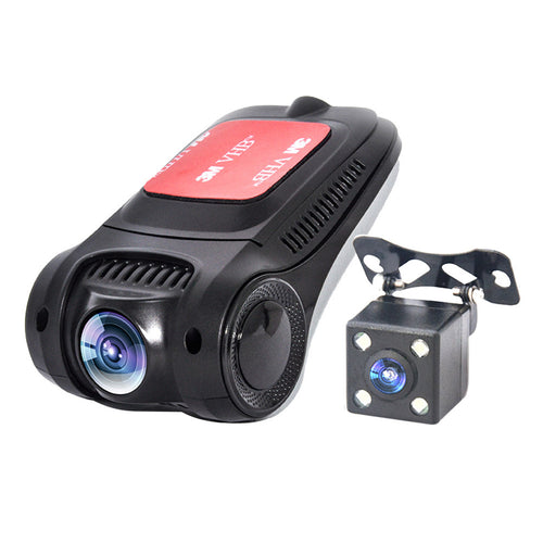 WiFi HD 1080P Car DVR Novatek NT96655 Sony IMX322 Hidden Dash Cam Rear Camera 170 Degree Wide Angle Dual Lens Car Video Recorder G-sensor Night Vision Motion Detection Loop Recording