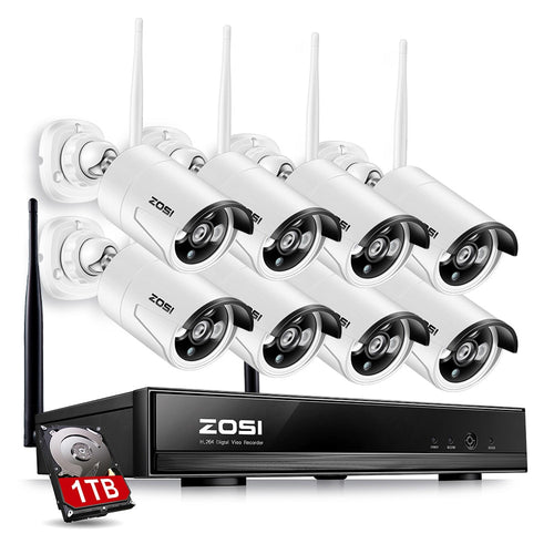 ZOSI 1TB HDD 8CH CCTV System Wireless 1080P HDMI NVR 1.3MP 960P WIFI IP Camera CCTV Home Security System Surveillance Kits