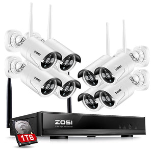 ZOSI 1TB HDD 8CH CCTV System Wireless 1080P Powerful Wireless NVR WIFI IP Camera CCTV Home Security System Surveillance Kits