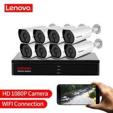 Load image into Gallery viewer, LENOVO 1080P POE NVR Kit 2.0MP HD CCTV Security camera System Audio monitor IP Camera P2P Outdoor Video Surveillance System