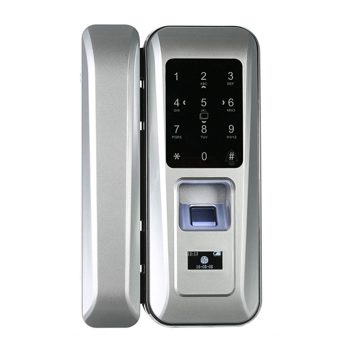 Fingerprint & Touchscreen Smart Lock Digital Lock for Double Open Glass Door Fingerprint Lock Electronic Keyless Touch-screen Door Lock Fingerprint Door Lock for Glass Door