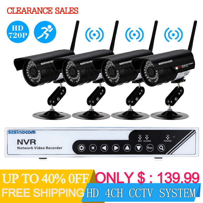 HD 4CH CCTV System 720P NVR DVR 4PCS 720P IR Weatherproof Outdoor CCTV Camera Security Camera System Surveillance Kits