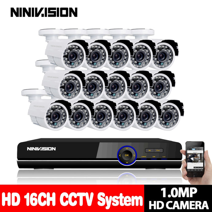 16CH AHD-H 1080P DVR Kit CCTV Video System 16 x720P 1.0MP Indoor Outdoor Security Camera 16 channel Camera surveillance System