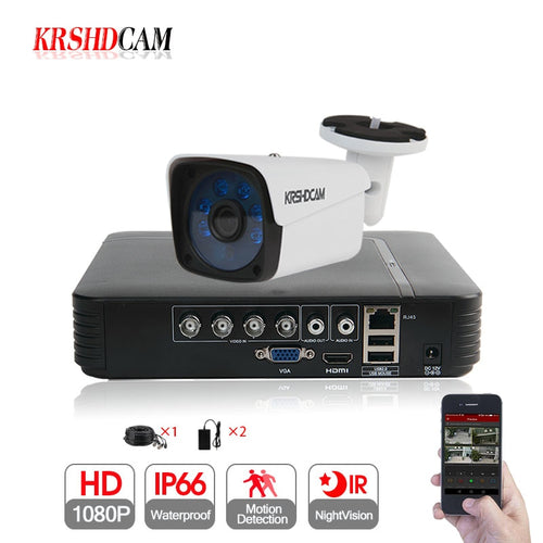 KRSHDCAM 4CH AHD DVR Security CCTV System 30M IR 1PCS 1080P CCTV Camera system Outdoor Waterproof Home Video Surveillance Kit