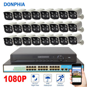 1080P 24PCS Camera Surveillance System POE 24ch NVR Kit+PoE Switch+2MP IP Camera POE Waterproof Security System CCTV System
