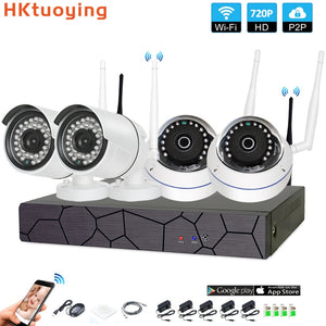 4CH CCTV System Wireless 720P NVR 4PCS 1.0MP IR Outdoor indoor P2P Wifi IP CCTV Security Camera System Surveillance Kit