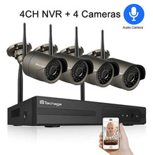 Load image into Gallery viewer, Techage 4CH 1080P Wireless NVR Wifi Security Camera System 2MP Audio Sound Outdoor CCTV IP Camera Video Surveillance Kit 2TB HDD