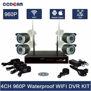 4CH Wifi NVR Kit Security System 960P Wifi IP Camera with 4CH Wifi NVR Wireless AP 2.4ghz Wireless Camera Kit CCTV Complete Set