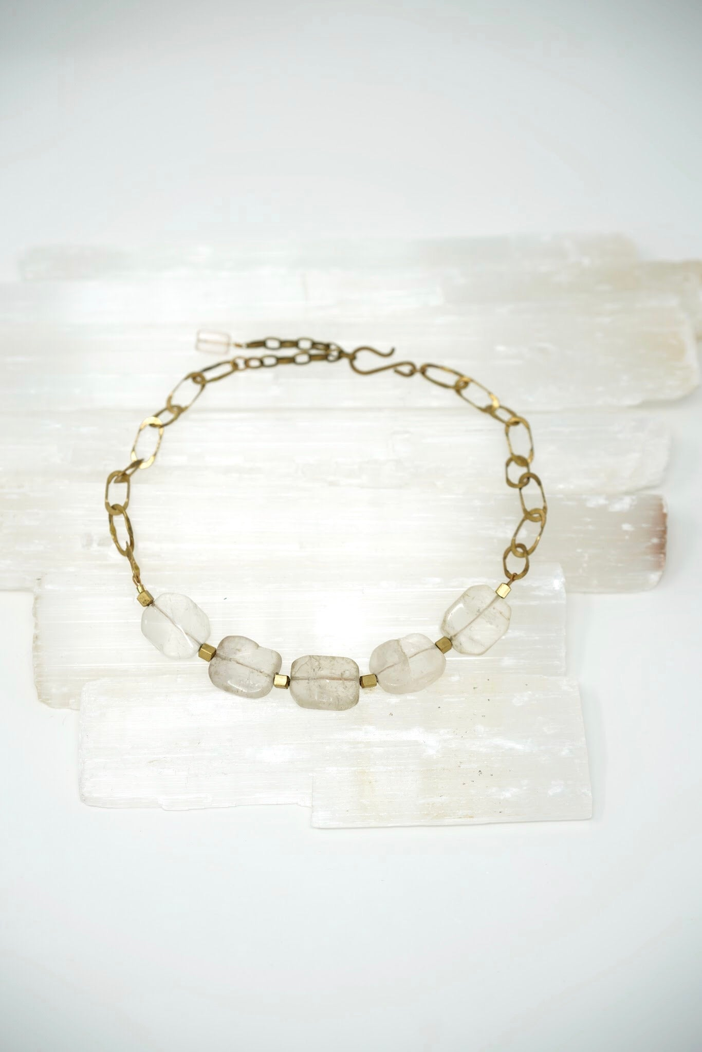 Translucent Crystal & Brass Chain Necklace