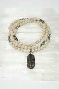 Riverstone Beaded Necklace with Removable Pendant