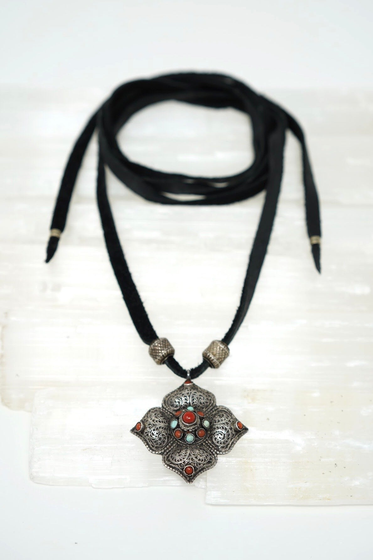 Indian Pendant Wrap Necklace