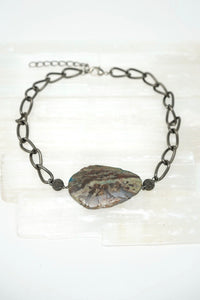 Pewter and Jasper Necklace