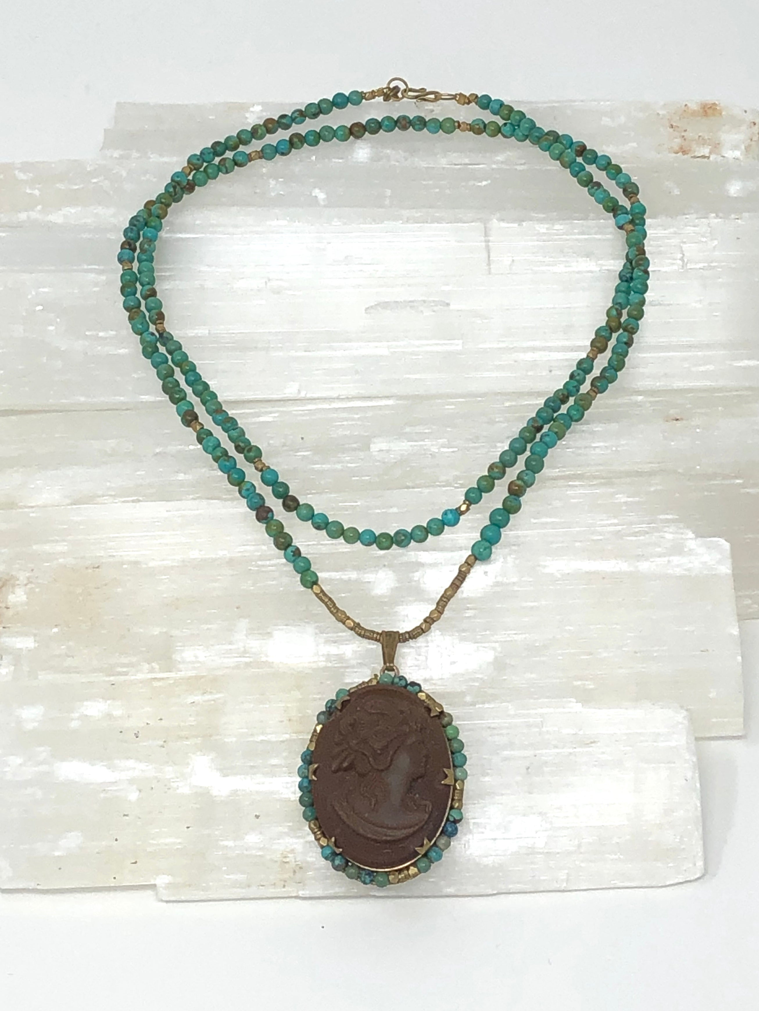 Chocolate Cameo and Turquoise Beaded Necklace