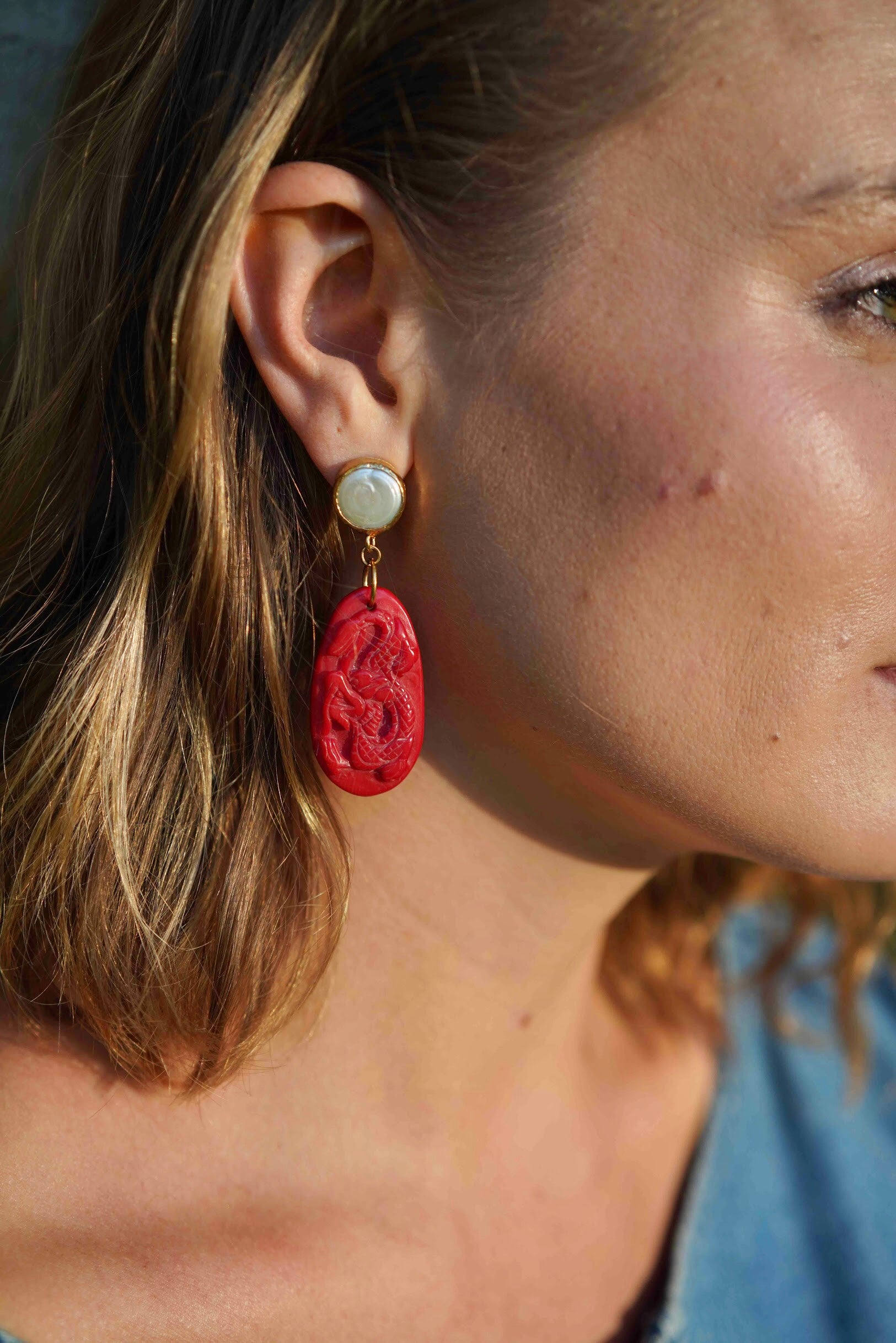 Red Dragon Coral Earrings