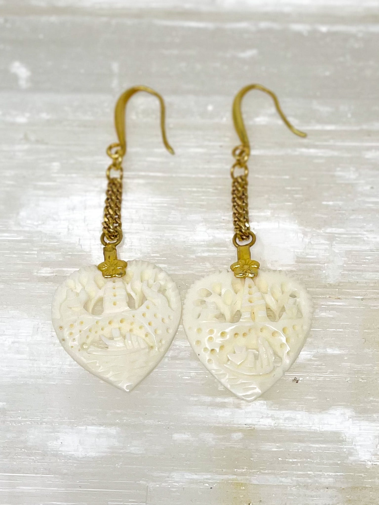 Vintage Carved Heart Earrings