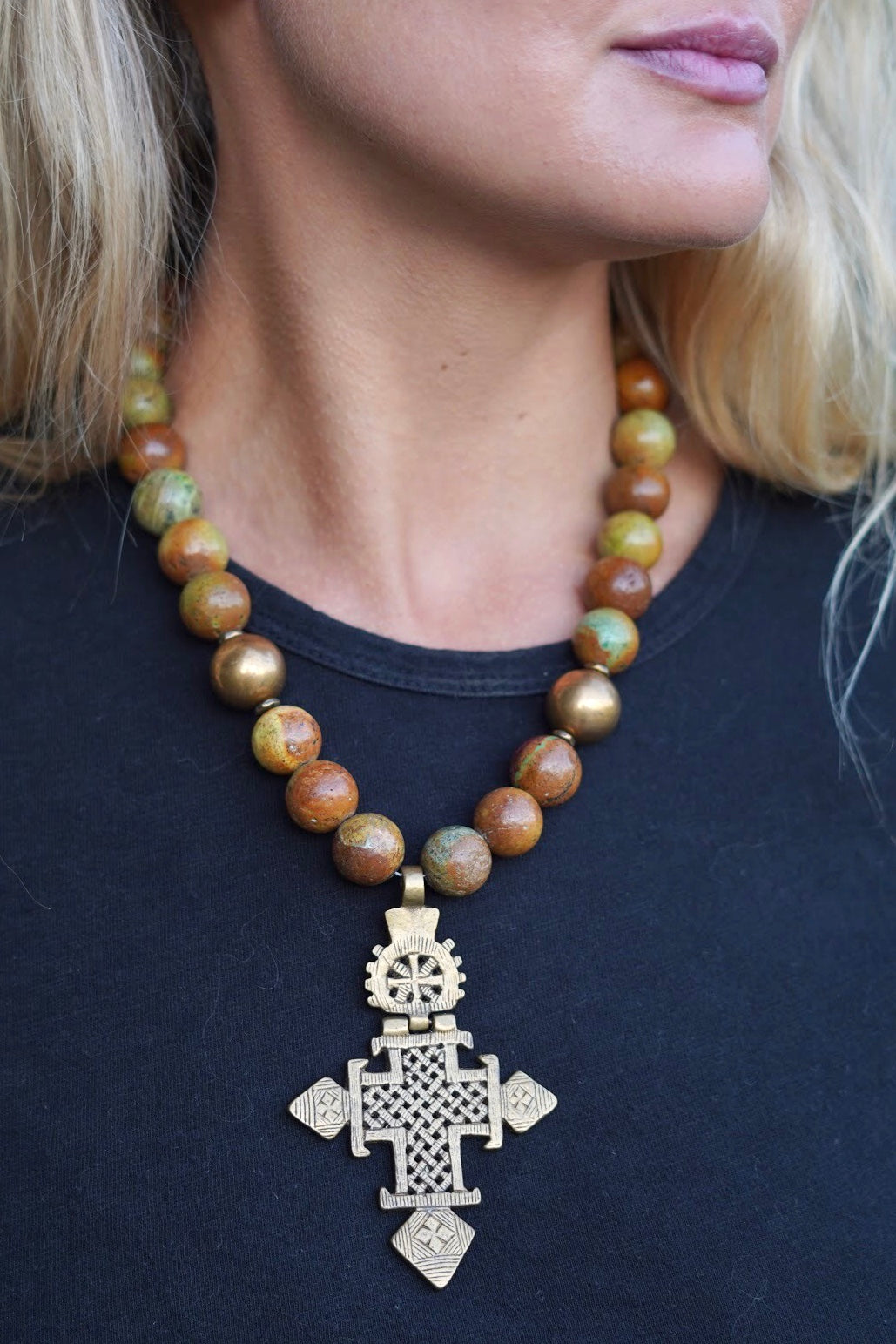Chunky Ethiopian Cross Necklace