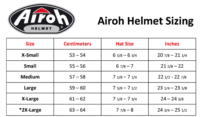 Airoh - Aviator 2.3 AMS2 Great Helmet Size Guide