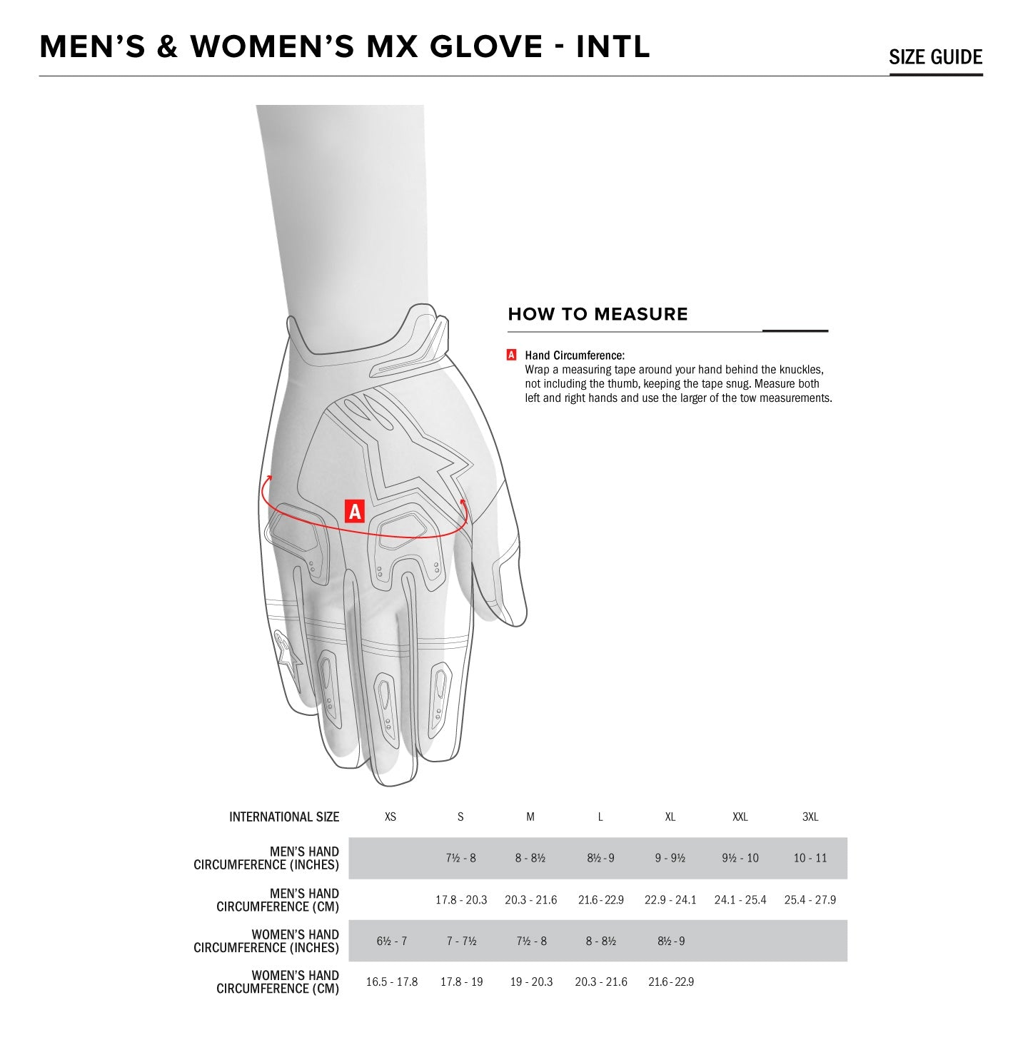 Alpinestars - 2019 Radar Gloves Size Guide