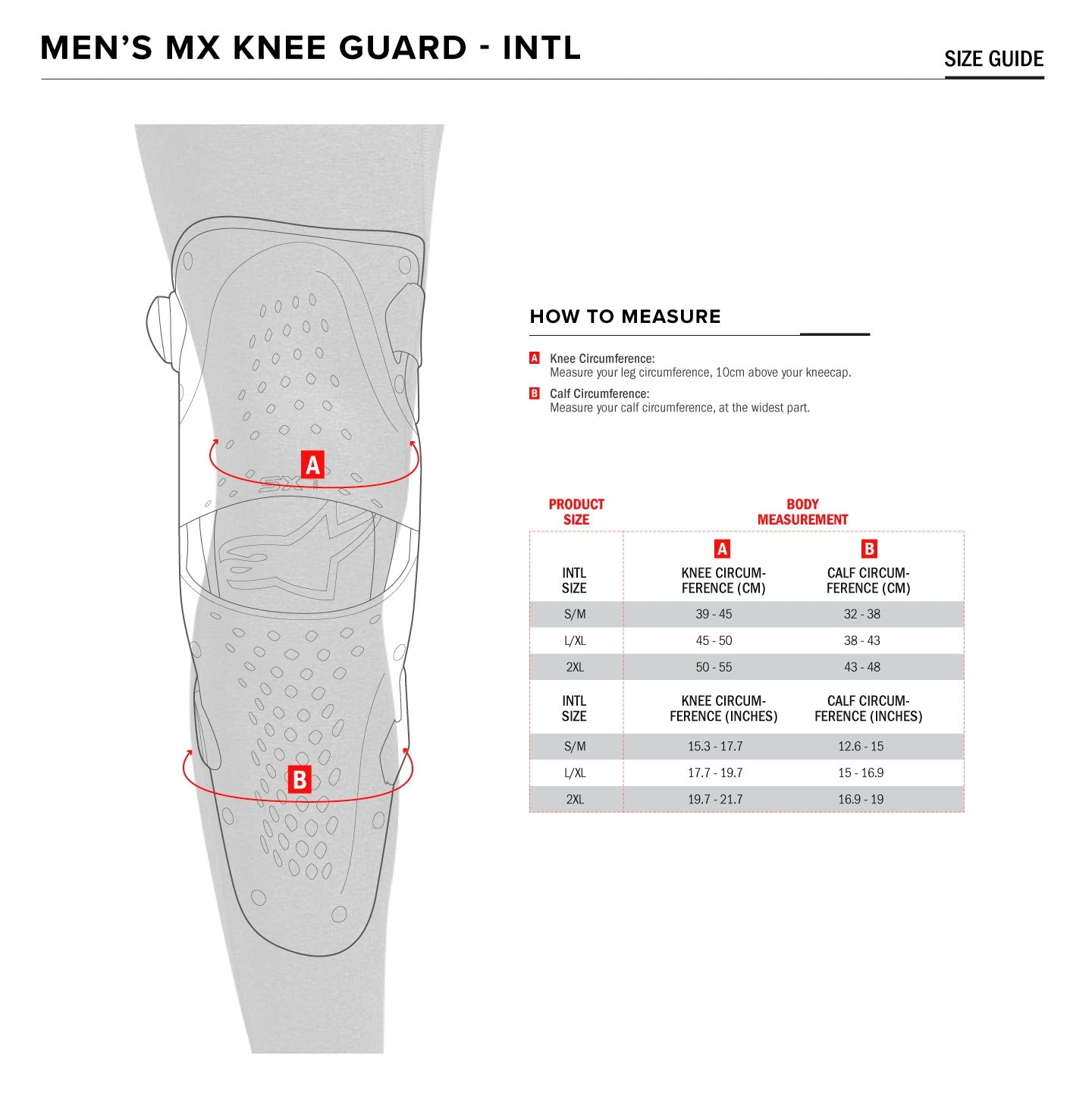 Alpinestars - SX1 Knee Guards Size Guide