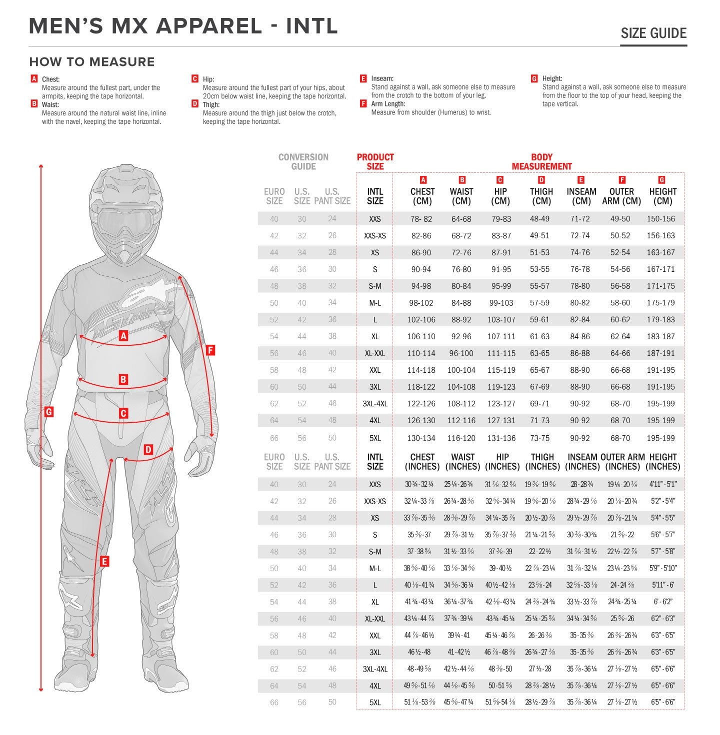 Alpinestars - 2020 Techstar Factory Metal Pants Size Guide