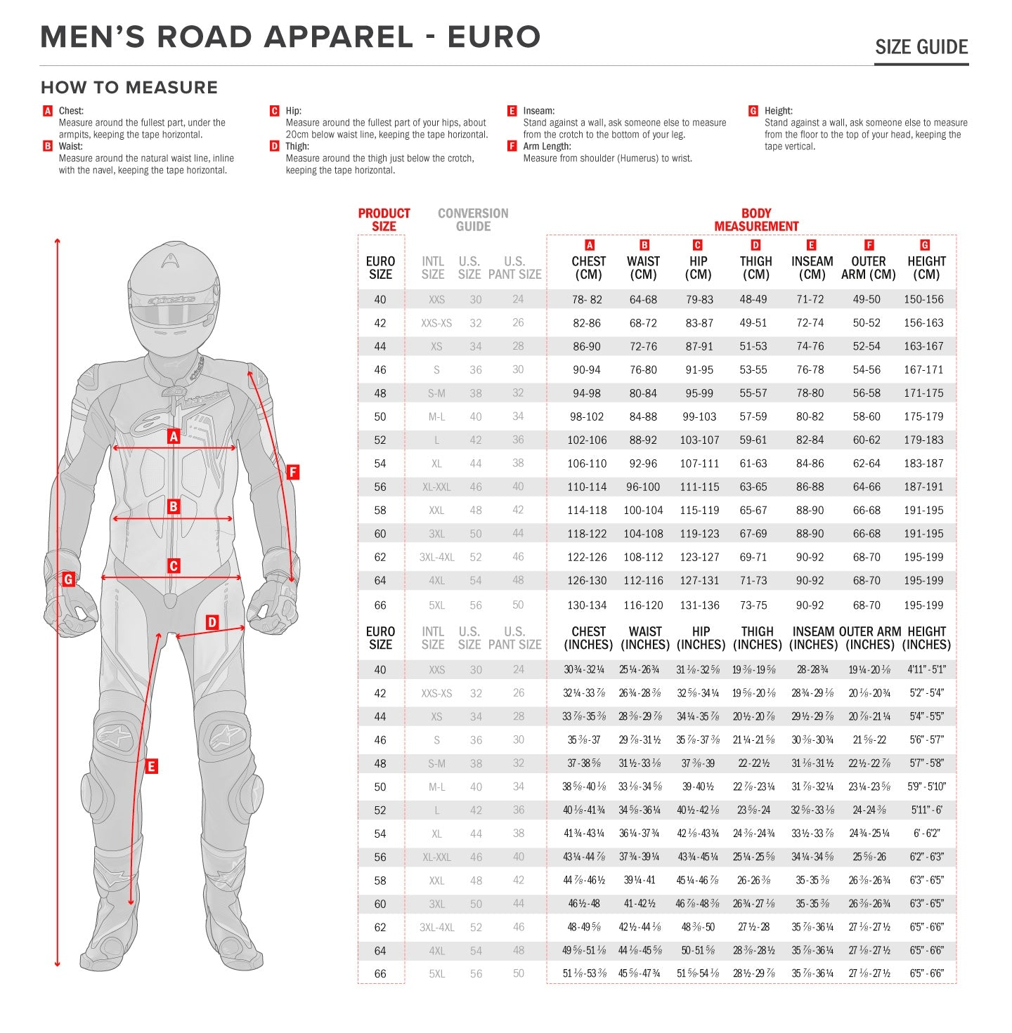 Alpinestars - Atem Leather Suit Size Guide