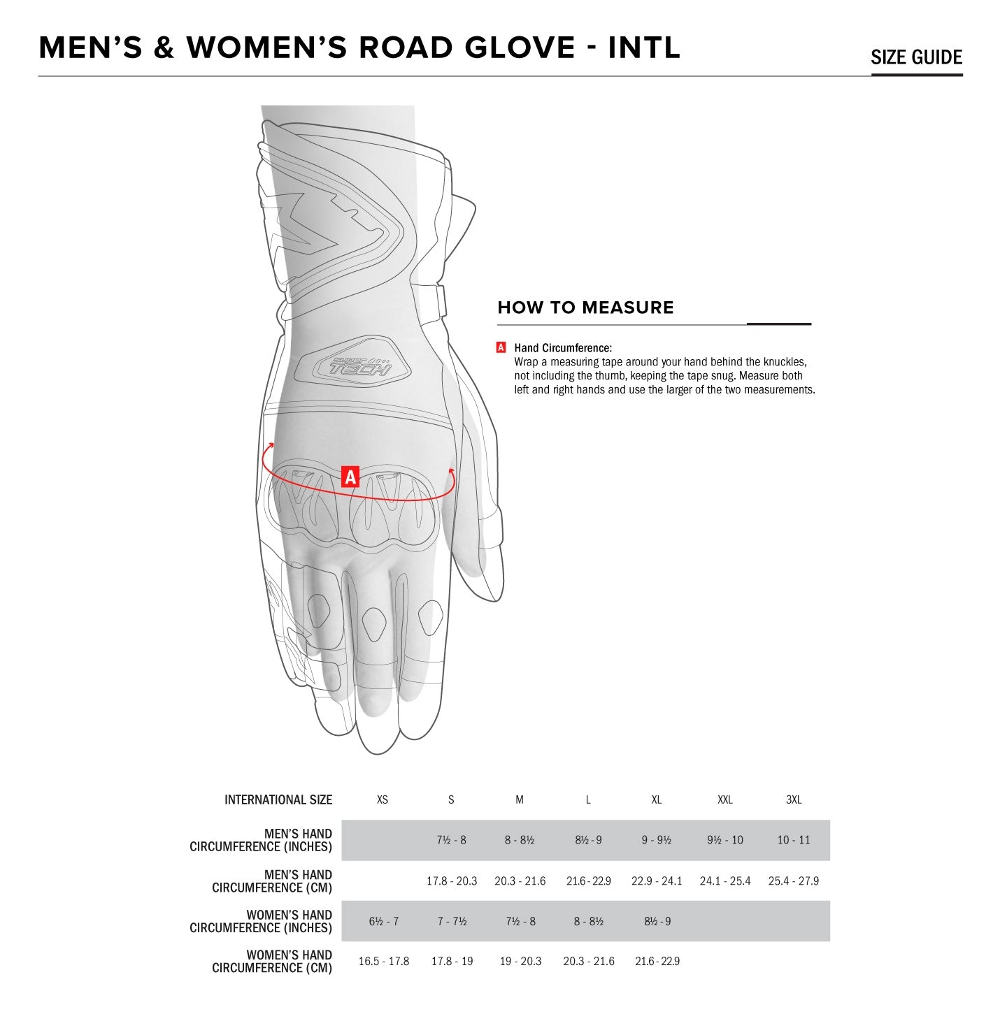 Alpinestars - SP 8 V2 Road Gloves Size Guide