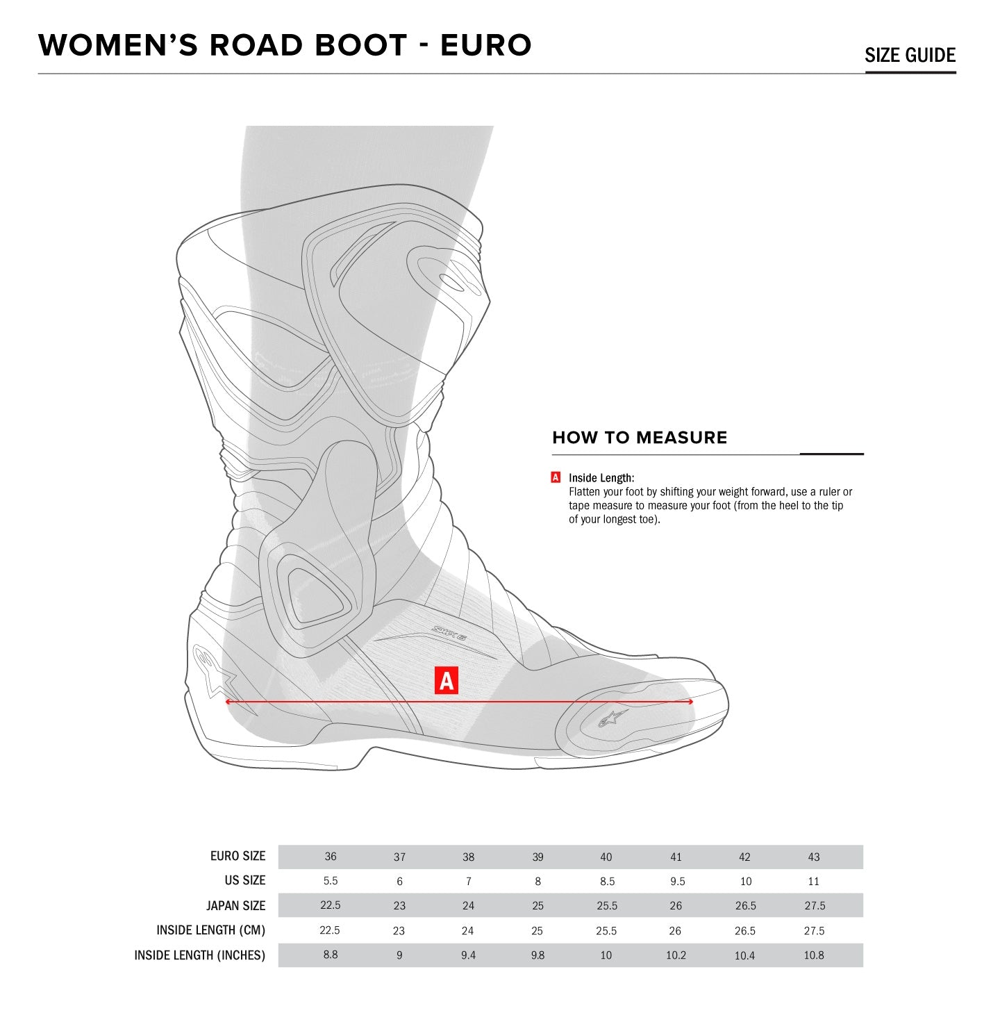 Alpinestars - Stella Faster V3 Ride Shoe Size Guide