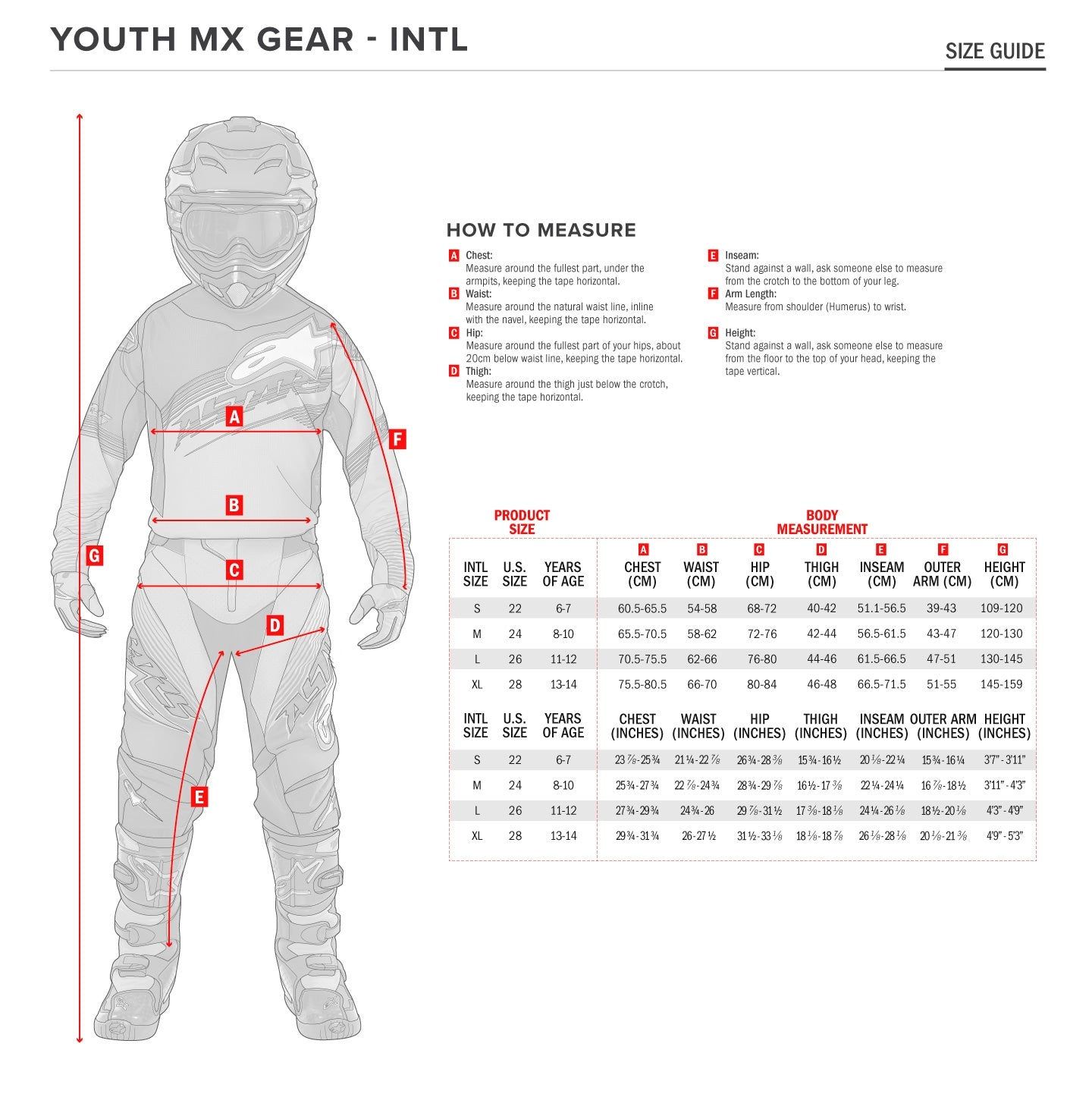 Alpinestars - 2019 Youth Racer Tactical Pants Size Guide